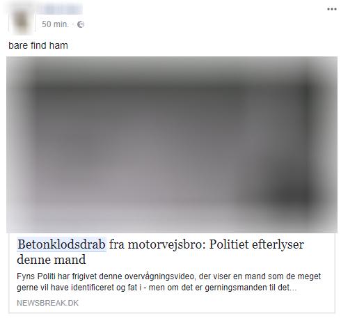 Skærmkopi fra Facebook. TjekDet har sløret billedet, da manden ikke længere er efterlyst.